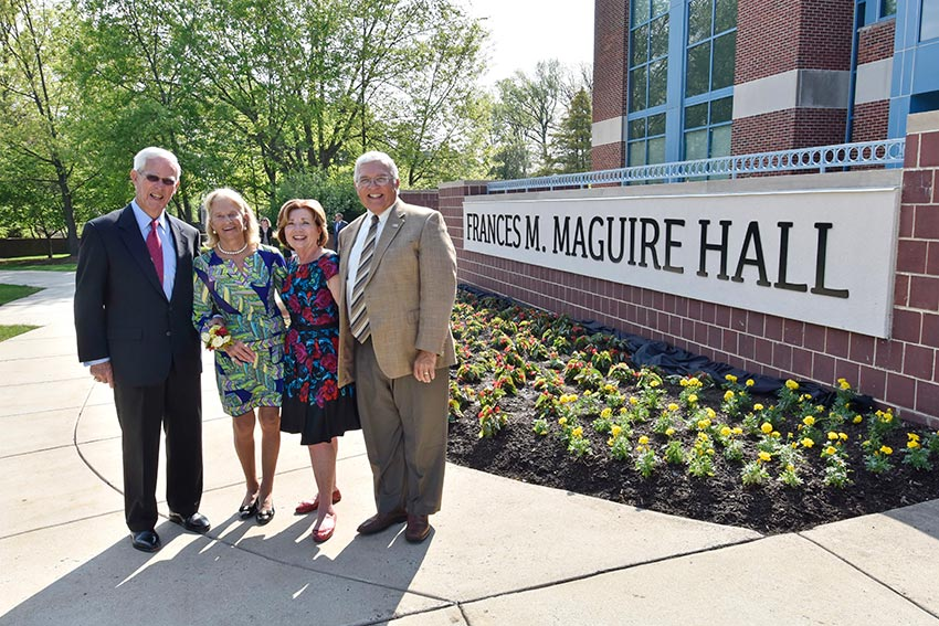 James and Frances Maguire celebrate the dedication of Frances M. Maguire Hall with President Kathleen Owens and Donald Zamborsky